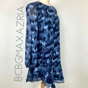NWT BCBGMAXAZRIA Ikat Cloud tiered ruffle dress M